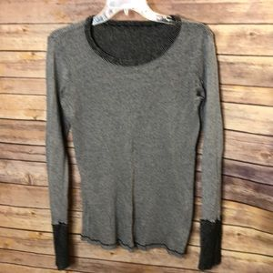 Tops - Knit long sleeve t-black/grey-One size